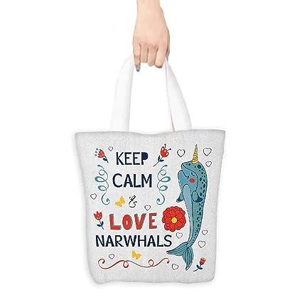 Sac à provisions en toile, Narwhal Pop Culture Phrase avec