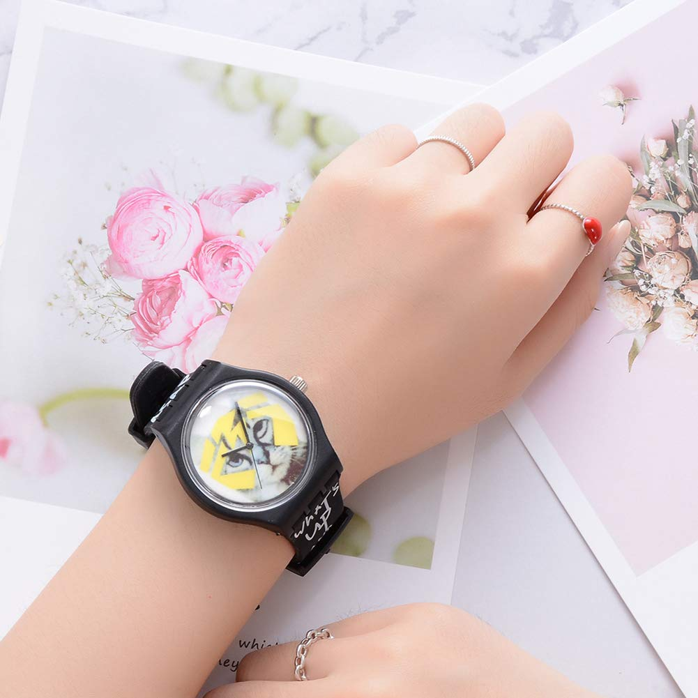 Cool Boys Girls Letters Cat No Numbers Analog Quartz Silicone Band Wrist Watch by Gaweb (Image #5)
