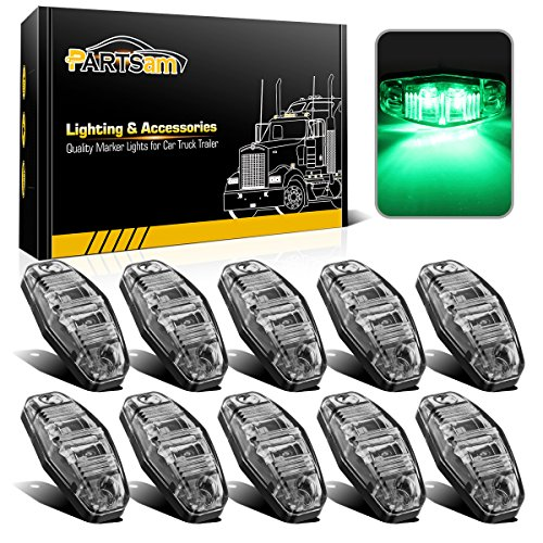 Partsam 10x Clear Lens/Green Led Side Marker Light Sealed Trailer RV Clearance Lamp 12V
