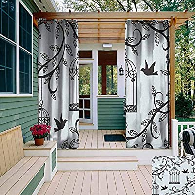 XXANS Grommet Curtain,Ornate Cages with Branch of Tree Silhouette and Birds Floral Modern Artistic Print,for Patio/Front Porch, Blue Black