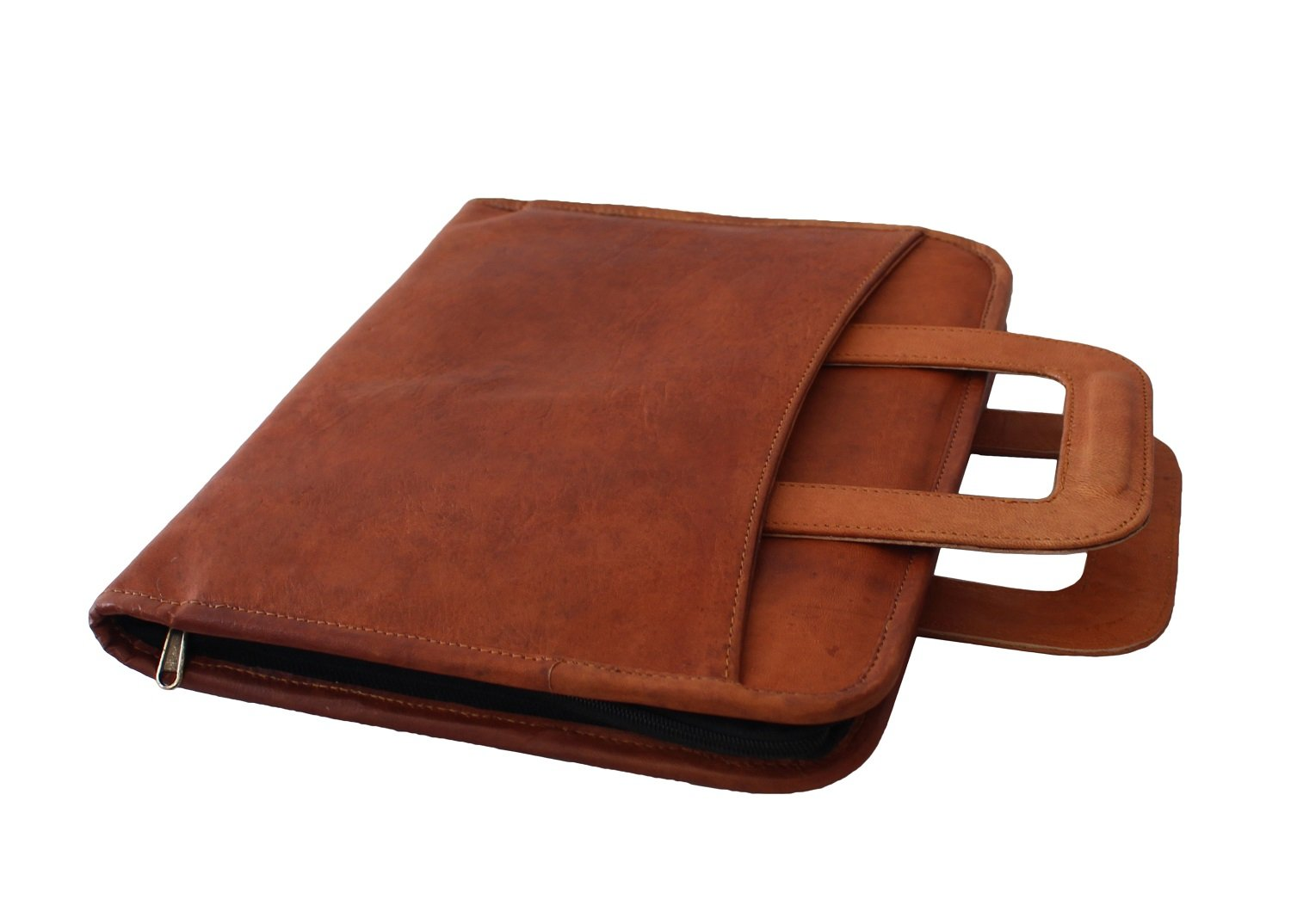 LUST Leather Business Portfolio, Hidden Briefcase Handle leather folder, Leather Padfolio, Zippered close personal organizer (Brown) Krishnaa Crafts BH-FR1