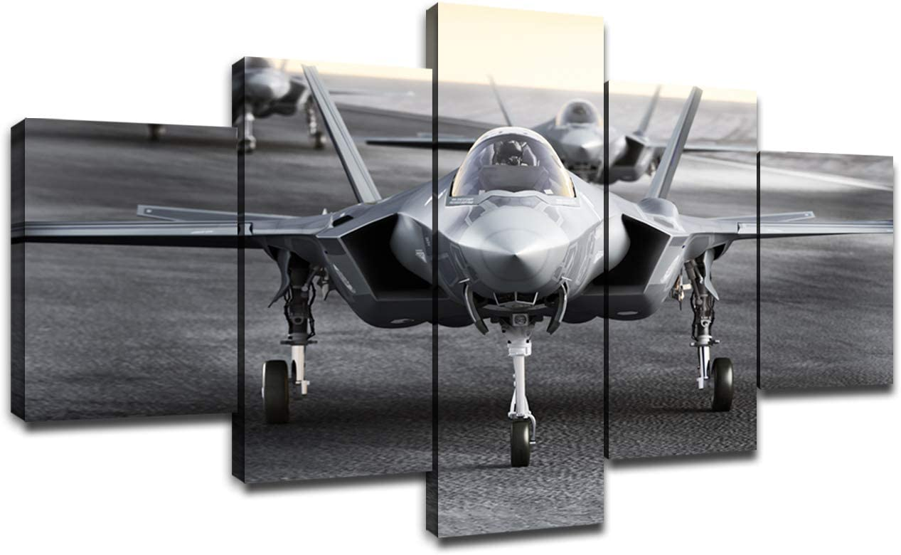 Multiple F35 Military Jet Strike Aircraft Preparing for Takeoff on A Strike MissionWall Decor 5 Piece Canvas Bedroom Decoration Wall Picture Artwork Wooden Frame(60''Wx32''H)
