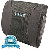 Soft&Care Lumbar Support Back Pillow – Premium Lumbar Pillow - Lower Back Pain Relief Cushion. Ideal Car Back Support & Chair Back Support With Two Straps. Protect Your Back- Relieves Lower Back Pain!
