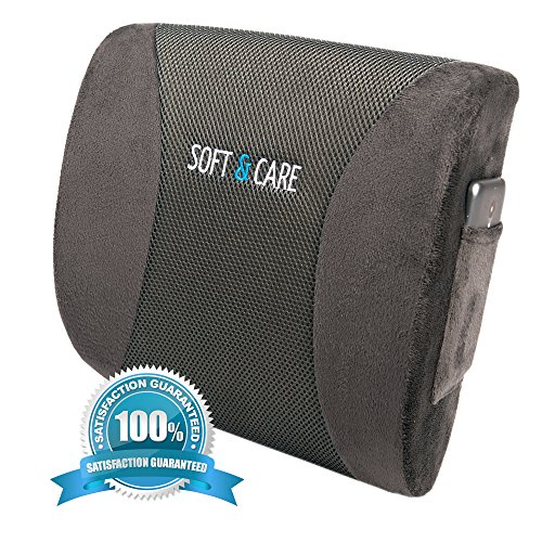 Soft&Care Lumbar Support Back Pillow – Premium Lumbar Pillow - Lower Back Pain Relief Cushion. Ideal Car Back Support & Chair Back Support With Two Straps. Protect Your Back- Relieves Lower Back Pain!