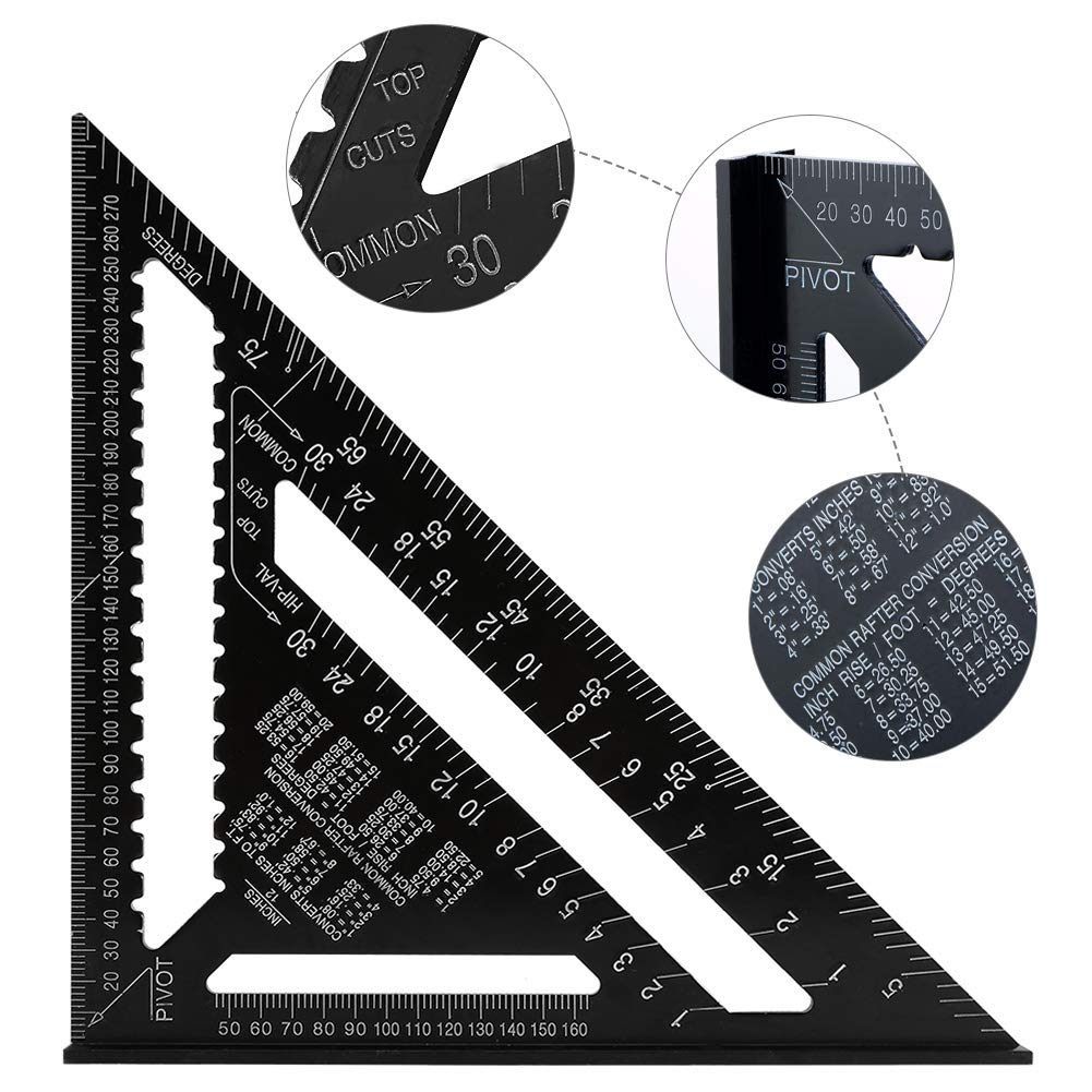 Quadrat Winkelmesser Hohe Pr/äzision Messwerkzeug f/ür Ingenieur Carpenter Dreieck Winkelmesser 90 /° Schwarz Nikou 12Aluminiumlegierung Dreieck Lineal