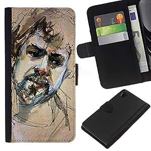 KingStore / Leather Etui en cuir / Sony Xperia Z2 D6502 / Retrato Sketch Barba hombre triste;