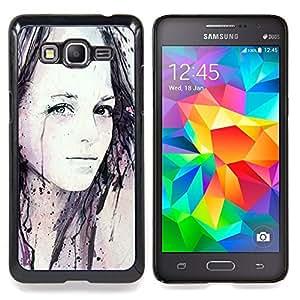 For Samsung Galaxy Grand Prime SM-G530F G530FZ G530Y G530H G530FZ/DS , Chica Acuarela Pintura Arte Negro - Diseño Patrón Teléfono Caso Cubierta Case Bumper Duro Protección Case Cover Funda