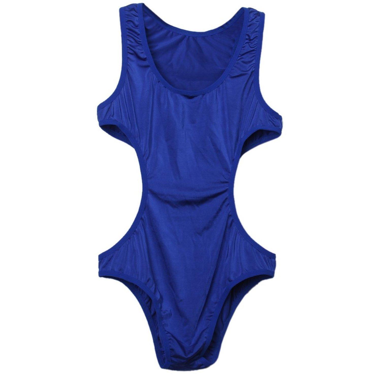 Herren Unterwaesche - TOOGOO(R) Herren Body Mesh Teddy Unterwaesche Nachtwaesche Stretch Kurze Bikini Waesche Blau 064804A2