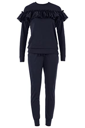 856578273be9 Womens Ladies Ruffle Frill Detail Loungewear 2 Piece Set Tracksuit Jogger  Top: Amazon.co.uk: Clothing