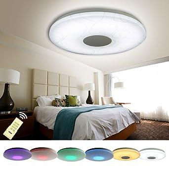 NatsenR LED Deckenlampen 48W RGB Modern Lampen Voll Dimmbar Fernbedienung 600mm Fr Wohnzimmer X809Y