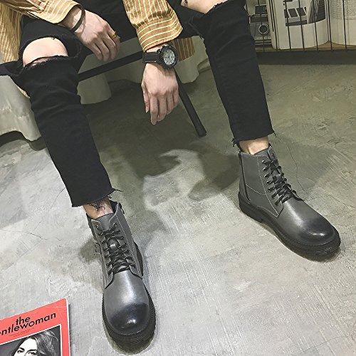 HL-PYL - Martin Mode Stiefel hohe Stiefel Stiefel für Werkzeuge Retro 41 Grau
