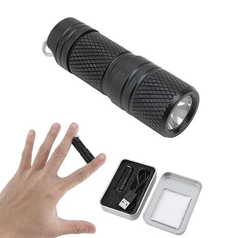 BORUIT Linternas Llavero LED Micro USB Mini linterna, 200 lúmenes Impermeable Recargable Linterna para Ciclismo, Camping, Montañismo, Senderismo y las ...