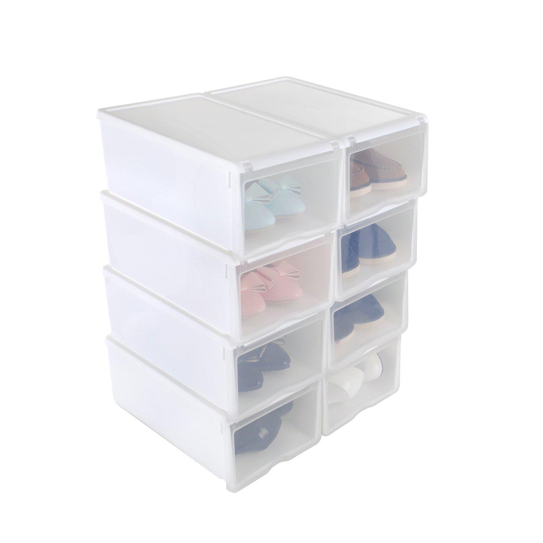 8x Cajas Organizadoras Apilables Anti-manchas Transparentes para Zapatos 33x22x14cm Color Blanco Conjunto de Estantes Zapateros Desmontables Amontonables de Almacenamiento de Pl/ástico Reforzado