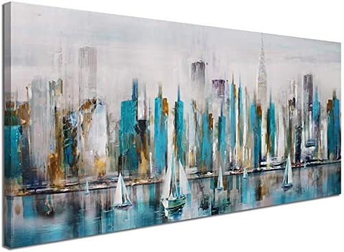 Large Manhattan River Abstract Painting Canvas Wall Art Decor Modern City New York View Painting Artwork