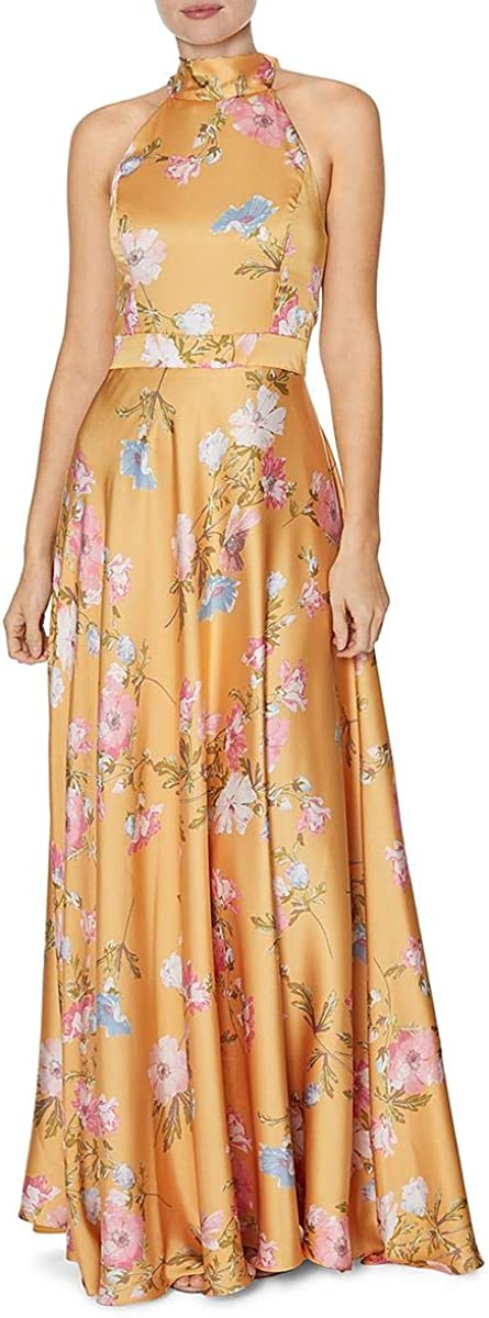 Laundry by Shelli Segal Womens Floral Halter Evening Dress
