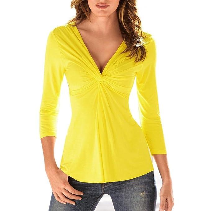 Langarm Bluse Rosennie Fashion Geraffte Blusen Damen Schulter V-Ausschnitt  Crop Tops T-Shirt Langarmshirt Frauen Casual Herbst Shirts Tunika Elegante  Lange ... 7580669c87