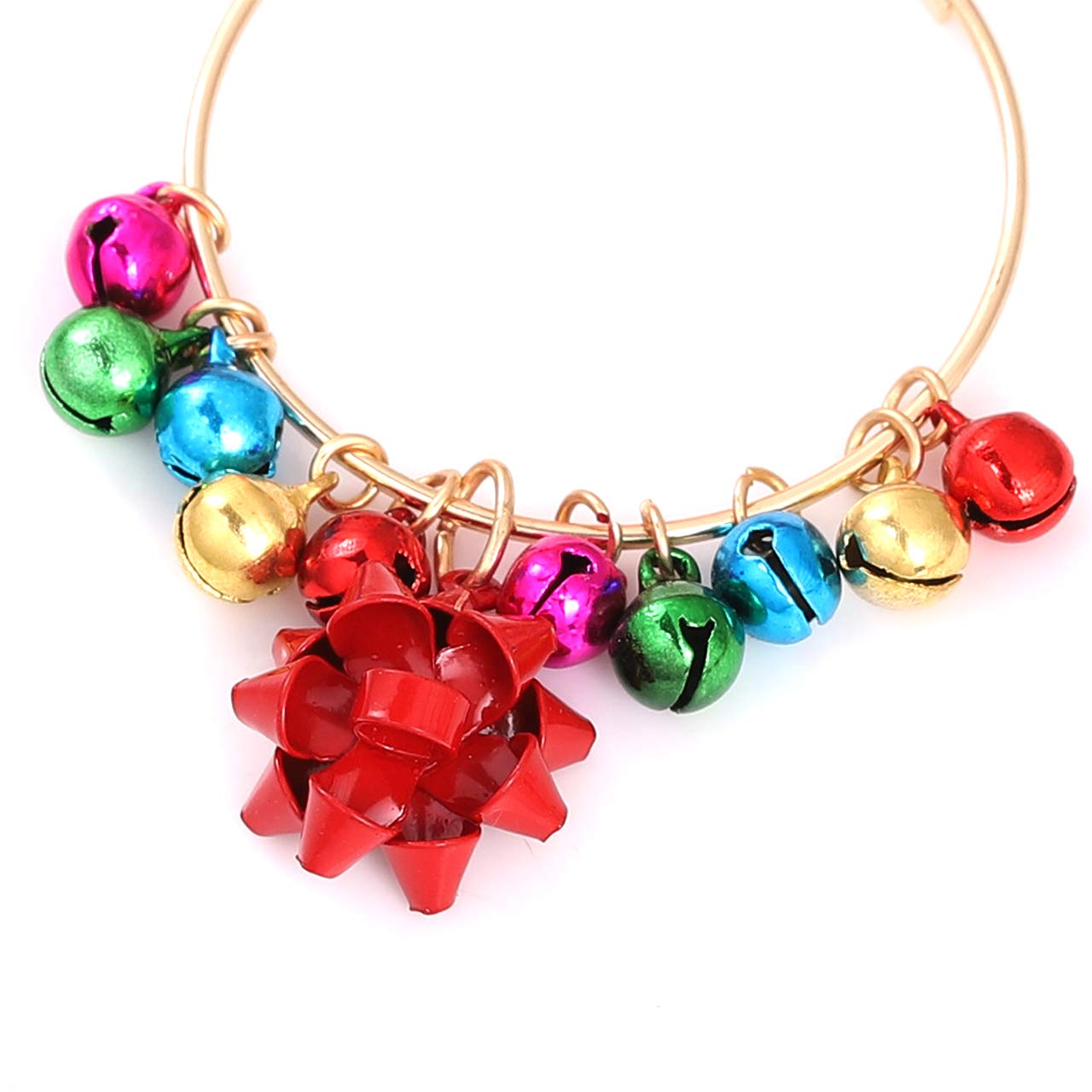 Amazon.com: NLCAC Jingle-bell Earrings Christmas Bow Drop Hoop ...