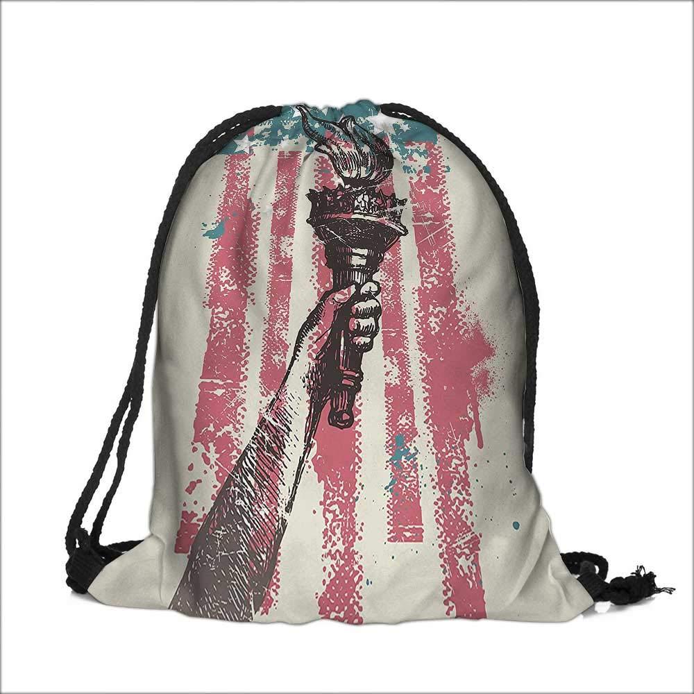 Drawstring Sacks Bundle Pocket Bag for Kids Patriot Sign th of July Coat of Arms Pink with Drawstring Camping Travel 12''W x 16''H