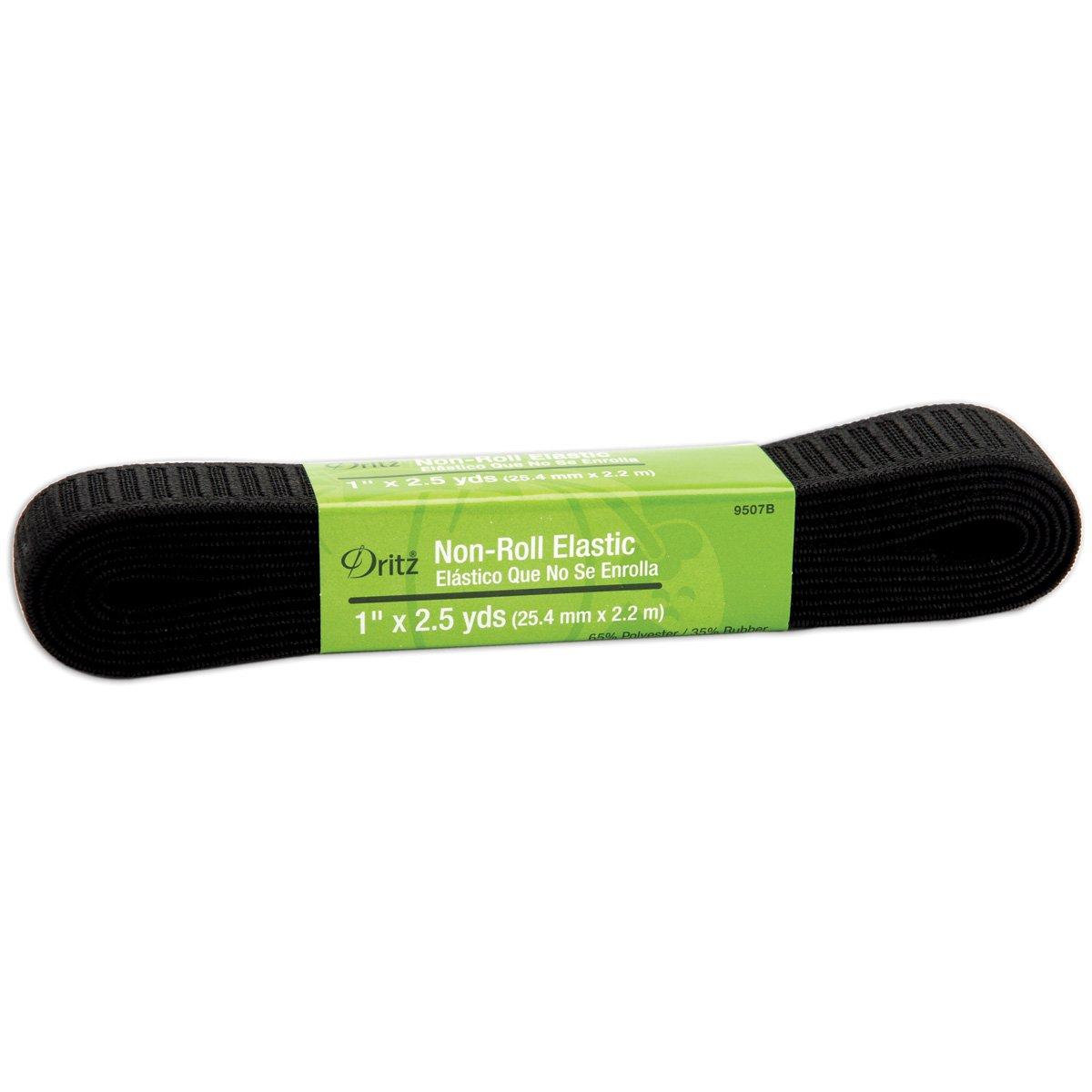 Amazon.com: Dritz 9507B Non-Roll Woven Elastic, Black, 1-Inch