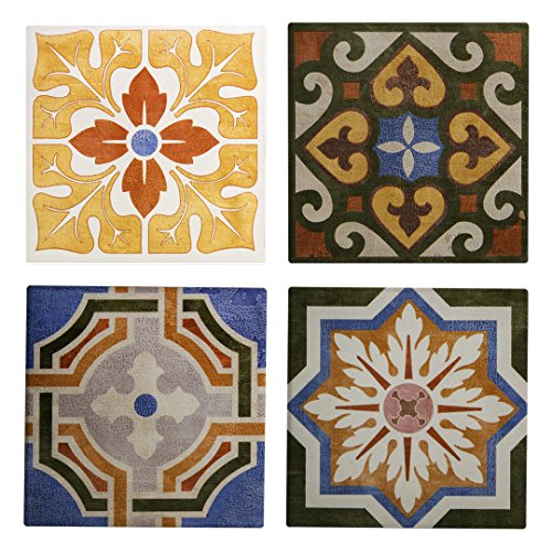 Vintage Tile Ceramic Coaster - Absorbent Coaster For Wine Glasses, Drinks and Beverages - House Warming Gift - Coaster Set Of 4 (Vintage Tiles) ()