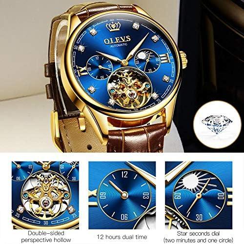 OLEVS Men Watch Tourbillon Automatic Self Wind Watch Mechanical Classic Hollow Waterproof Luminous Leather Band Wrist Watch