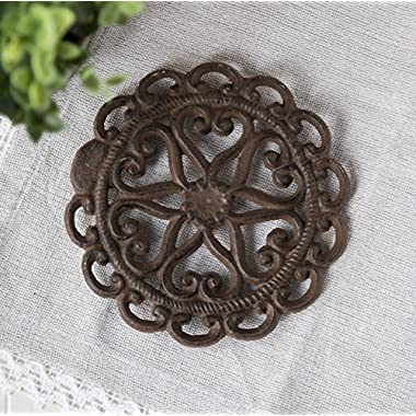 Cast Iron Trivet | Round with Vintage | Pattern Decorative Cast Iron Trivet For Kitchen Or Dining Table | 6   Diameter -| With Rubber Pegs | by Comfify CA-1504-08-BR