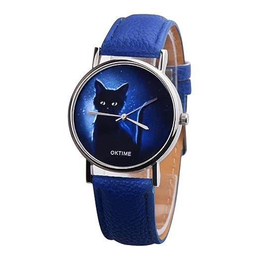 Reloj de Pulsera, Reloj análogo de Cuarzo analógico de imitación de Cuero Negro Misterioso para Mujer, Cuarzo Acero Inoxidable: Amazon.es: Relojes