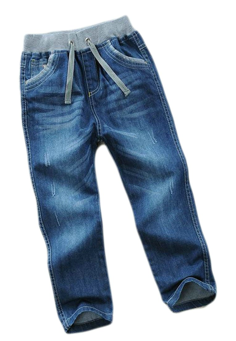 Cromoncent Boy's Straight Leg Elastic Waist Casual Faded Denim Pants