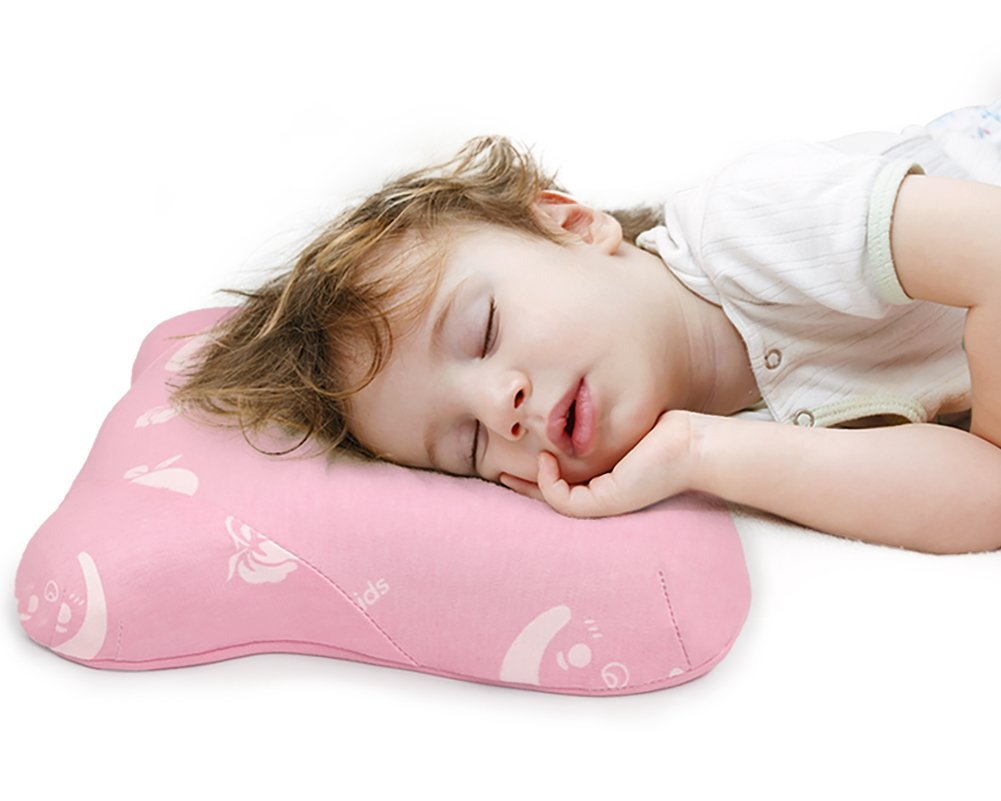 Toddler Pillow for Sleeping, Small Nap Pillow for Kids Travel Size 15'' x 10'' (Pink)