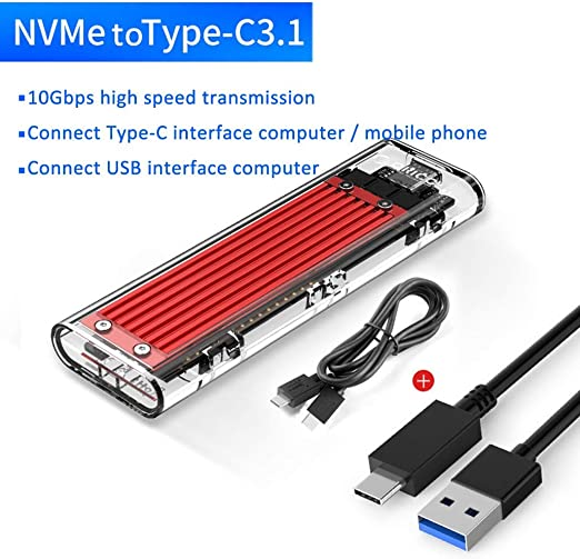 HWENJ Transparente USB3.1 Gen2 Tipo-c M.2 NVME SSD Caja HDD Caja SSD Caja
