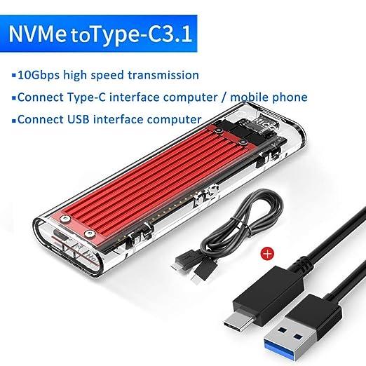 HWENJ Transparente USB3.1 Gen2 Tipo-c M.2 NVME SSD Caja HDD Caja ...