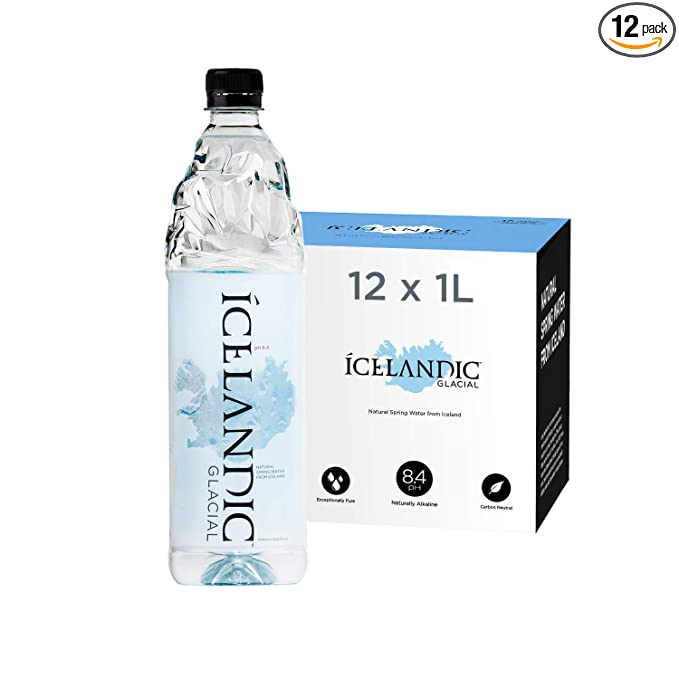 Icelandic Glacial Natural Spring Alkaline Water, 1 Liter (12 Count)