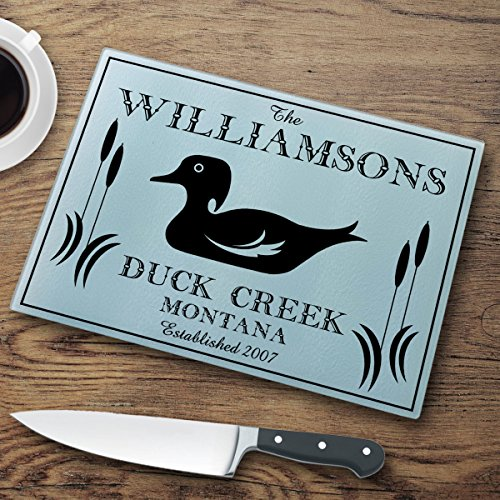 Personalized Cabin Series Glass Cutting Board - Wood Duck