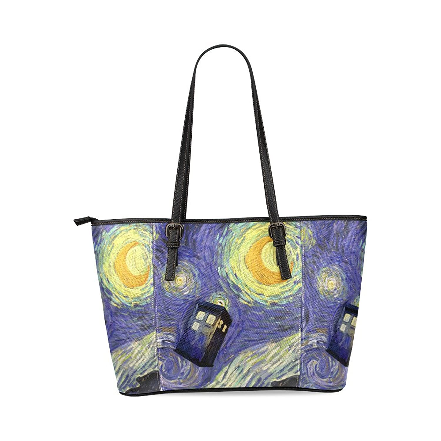 Starry Night Custom PU Leather Large Tote Bag/Handbag/Shoulder Bag for Fashion Women /Girls