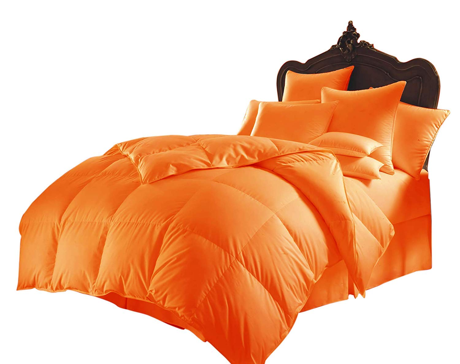 All Season Luxurious 1000 Series,Luxury Goose Down Alternative Comforter, Oversized-King - Quilt 8 Pc Comforter -100% Egyptian Cotton Comforter, Hotel Quality 400 GSM,Orange, (90''x120'') by SOFTBED COLLECTION
