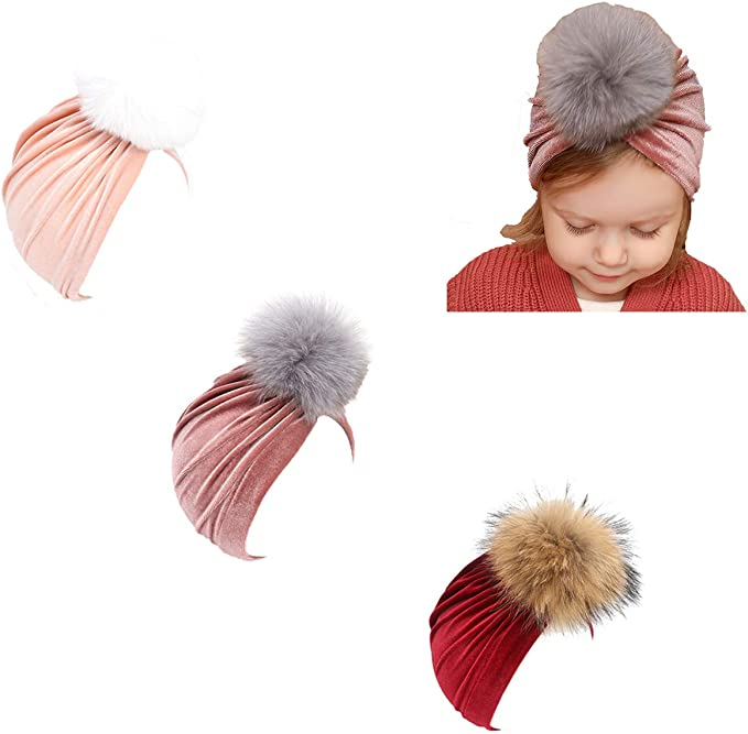 Udobuy 7 Pcs Headband Updated Version Baby Hat- Newborn Baby Girl Soft Cute Turban Knot Rabbit Hospital Hat