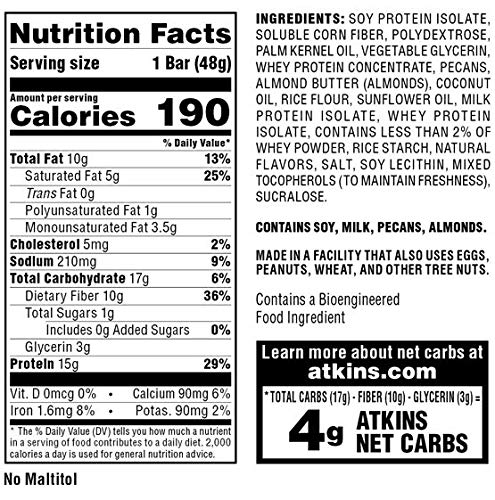 Atkins Protein-Rich Meal Bar, Vanilla Pecan Crisp, Keto Friendly, 5 Count
