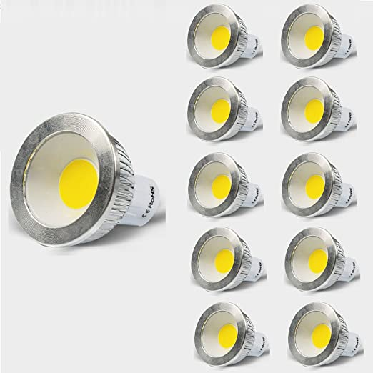 (10 unidades, blanco cálido) ymao 5 W GU10 LED COB Lámpara, Repuesto
