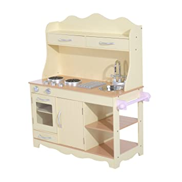 HOMCOM Large Wooden Kids Kitchen Childrenu0027s Pretend Role Play Set Cooking  Toys Cooker Imagination Early Learning