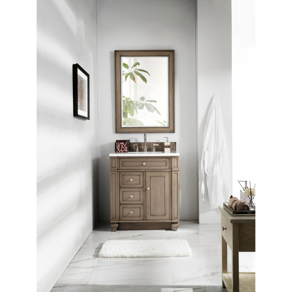 30 in. Single Vanity with Snow White Quartz Top in White Washed Walnut Finish