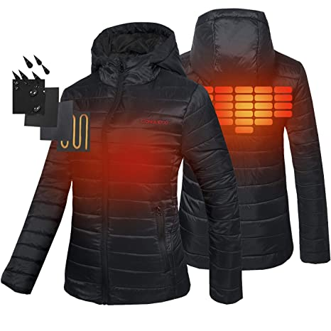 3157acf49f18 CONQUECO Women s Heated Jacket Slim Fit Light Weight Down Jacket For ...