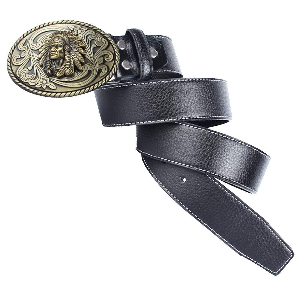 Baoblaze Cintur/ón de Cuero con Hebilla Ovalado de Indio Estilo Vaquero Occidental para Hombres