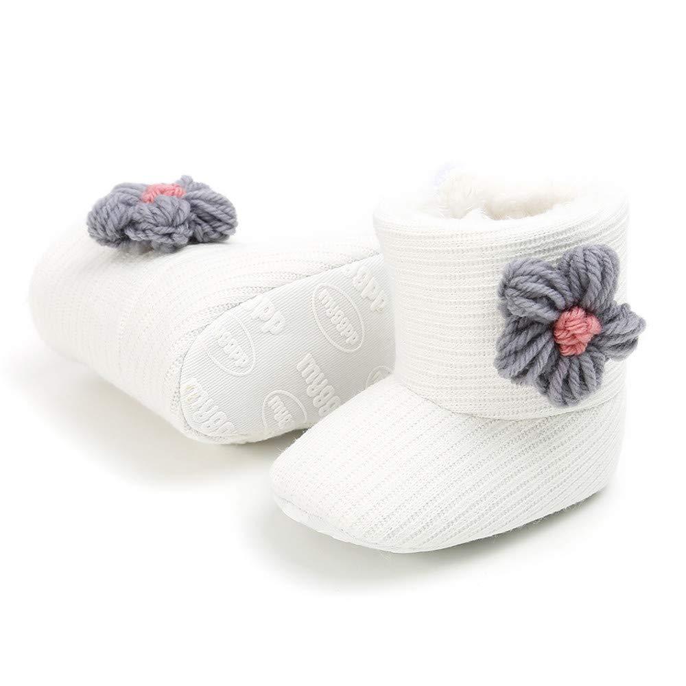 LILICAT❋ Botas de algodón para bebé Hechas a Mano con Flores, Zapatos para niños pequeños, Baby Girl Keep Warm Plush Botas de Nieve Suaves Zapatos de Cuna ...