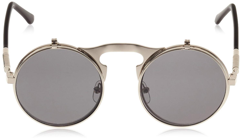 6970404ad Dollger Lennon Flip up clip on Round Sunglasses(Black Lens+Silver Frame):  Amazon.co.uk: Clothing