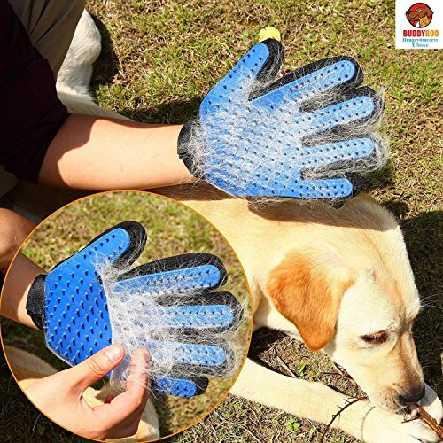 (Pet Grooming Glove - Gentle Deshedding Brush Glove - Efficient Pet Hair Remover Mitt - Massage Tool with Enhanced Five Finger Design - Perfect for Dogs & Cats with Long & Short Fur,1 Pack (right-hand))