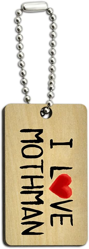 Graphics and More I Love Mothman Written on Paper Wood Wooden Rectangle Key Chain