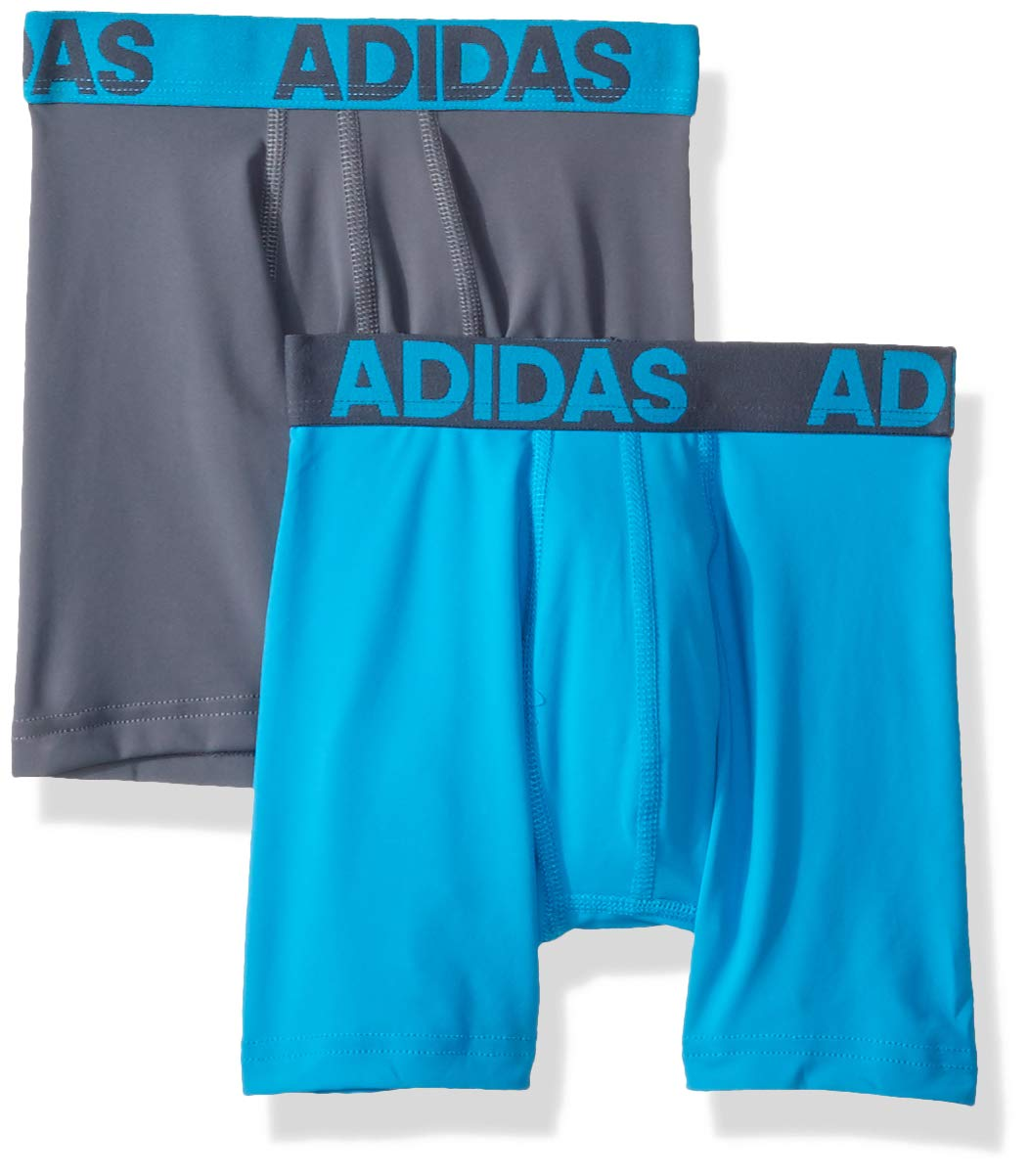 adidas Boys / Youth Sport Performance Climalite Boxer Brief Underwear (2-Pack) grey and blue large, Onix/solar blue solar blue/Onix, Large