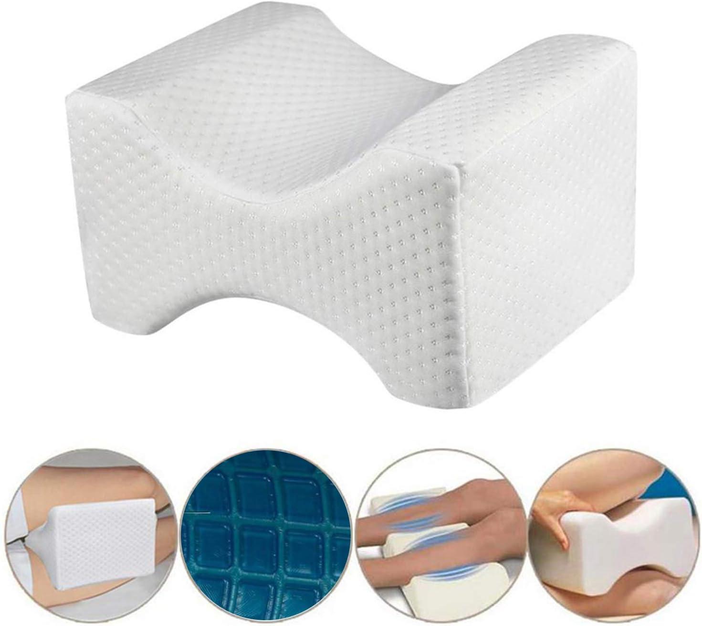 Almohada ortopédica para rodillas. Cojín ortopédico viscoelástico con Gel disipador de calor. Alivia el dolor de rodillas, cadera, ciática, espalda y columna. Incluye 2 fundas extraíbles y lavables.