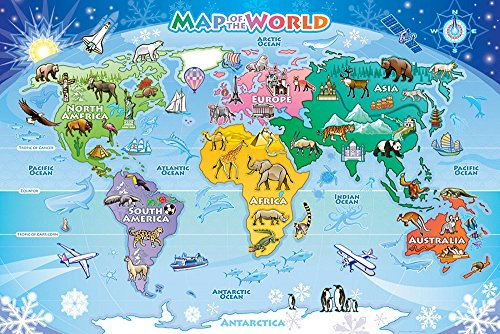 Cobble Hill Map of the World 48 Piece Jungle Animals 48 Piece Children's Puzzles