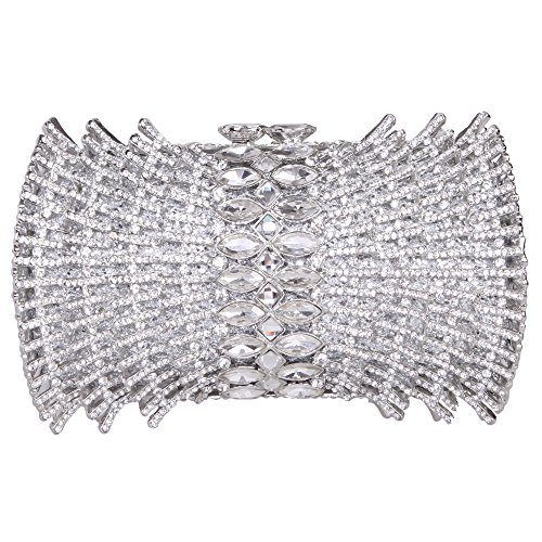 Fawziya Fan Shaped Bling Clutch Purse Rhinestone Crystal Clutch Evening Bag-Silver
